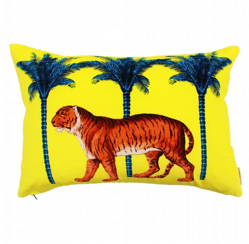Cotton Velvet Cushion - Tiger